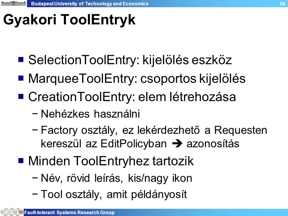 Budapest University of Technology and Economics Fault-tolerant Systems Research Group 54 Gyakori ToolEntryk  SelectionToolEntry: kijelölés eszköz  MarqueeToolEntry: csoportos kijelölés  CreationToolEntry: elem létrehozása −Nehézkes használni −Factory osztály, ez lekérdezhető a Requesten kereszül az EditPolicyban  azonosítás  Minden ToolEntryhez tartozik −Név, rövid leírás, kis/nagy ikon −Tool osztály, amit példányosít
