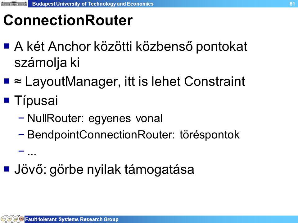 Budapest University of Technology and Economics Fault-tolerant Systems Research Group 61 ConnectionRouter  A két Anchor közötti közbenső pontokat számolja ki  ≈ LayoutManager, itt is lehet Constraint  Típusai −NullRouter: egyenes vonal −BendpointConnectionRouter: töréspontok −...