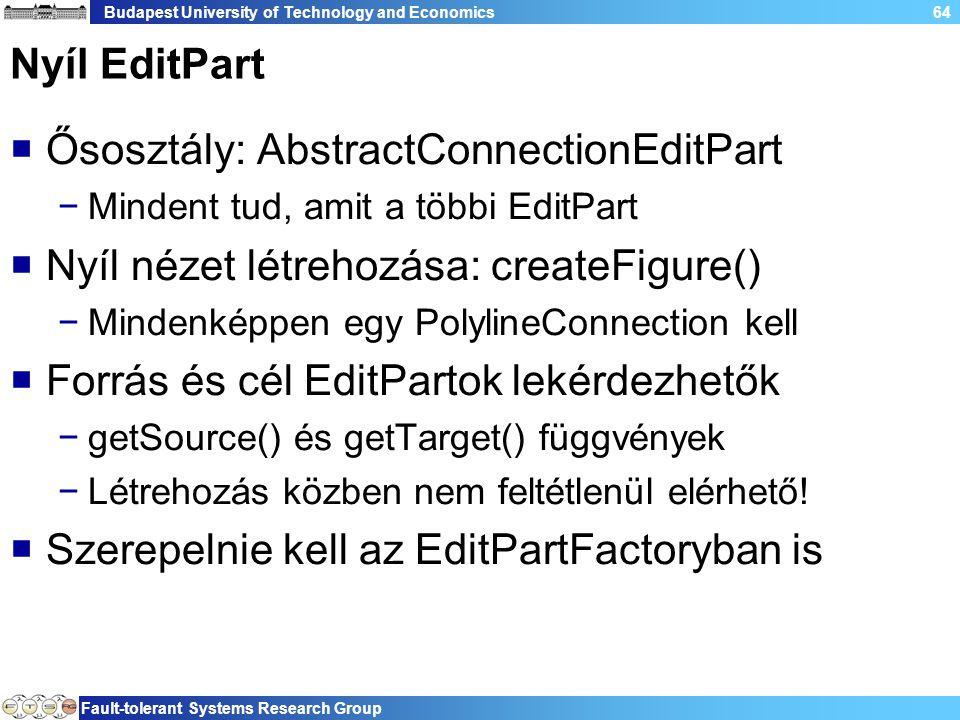 Budapest University of Technology and Economics Fault-tolerant Systems Research Group 64 Nyíl EditPart  Ősosztály: AbstractConnectionEditPart −Mindent tud, amit a többi EditPart  Nyíl nézet létrehozása: createFigure() −Mindenképpen egy PolylineConnection kell  Forrás és cél EditPartok lekérdezhetők −getSource() és getTarget() függvények −Létrehozás közben nem feltétlenül elérhető.