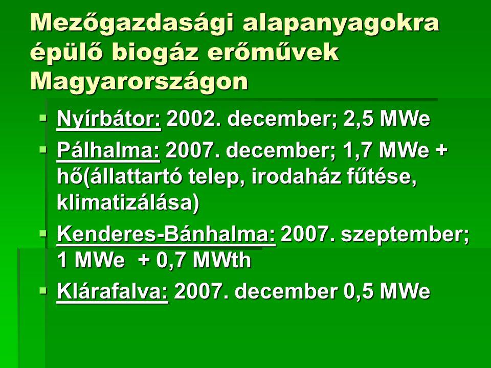 Mezőgazdasági alapanyagokra épülő biogáz erőművek Magyarországon  Nyírbátor: 2002. december; 2,5 MWe  Pálhalma: 2007. december; 1,7 MWe + hő(állatta