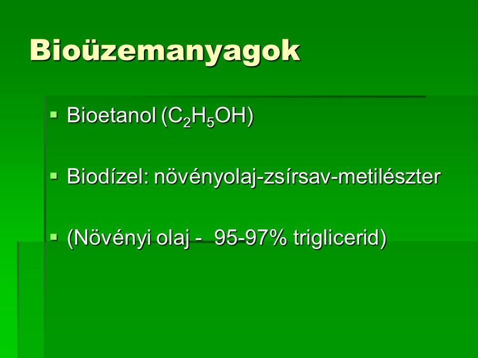 Bioüzemanyagok  Bioetanol (C 2 H 5 OH)  Biodízel: növényolaj-zsírsav-metilészter  (Növényi olaj - 95-97% triglicerid)