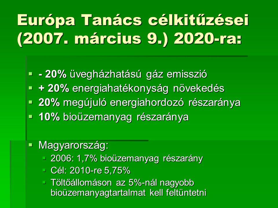 Európa Tanács célkitűzései (2007. március 9.) 2020-ra:  - 20% üvegházhatású gáz emisszió  + 20% energiahatékonyság növekedés  20% megújuló energiah