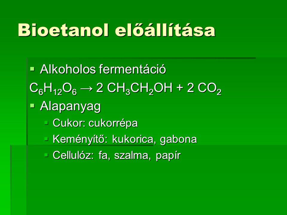 Bioetanol előállítása  Alkoholos fermentáció C 6 H 12 O 6 → 2 CH 3 CH 2 OH + 2 CO 2  Alapanyag  Cukor: cukorrépa  Keményítő: kukorica, gabona  Ce