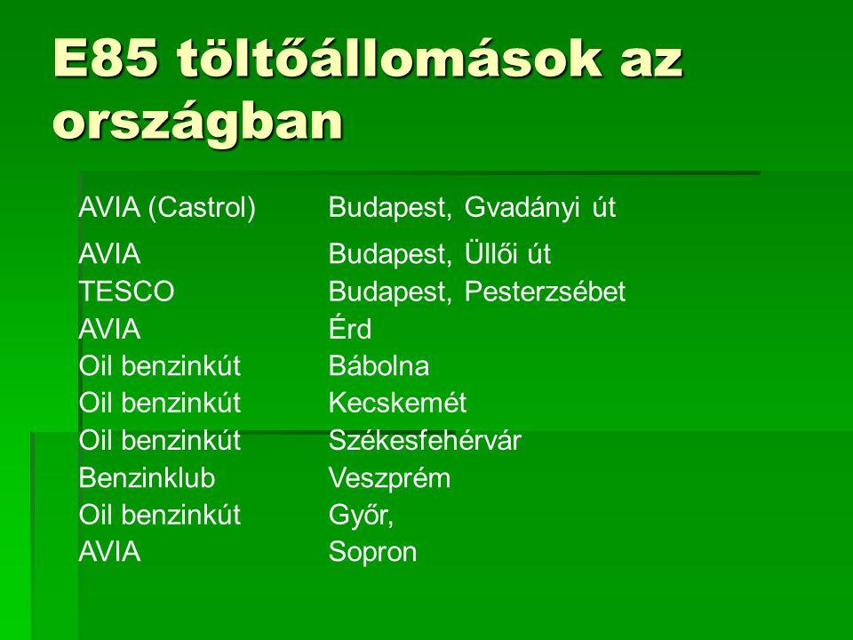 E85 töltőállomások az országban AVIA (Castrol)Budapest, Gvadányi út AVIABudapest, Üllői út TESCOBudapest, Pesterzsébet AVIAÉrd Oil benzinkútBábolna Oi