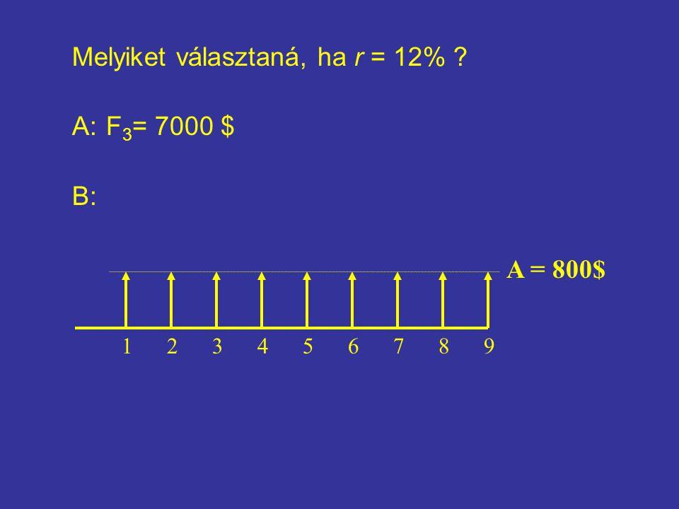 Melyiket választaná, ha r = 12% ? A: F 3 = 7000 $ B: 123456789 A = 800$