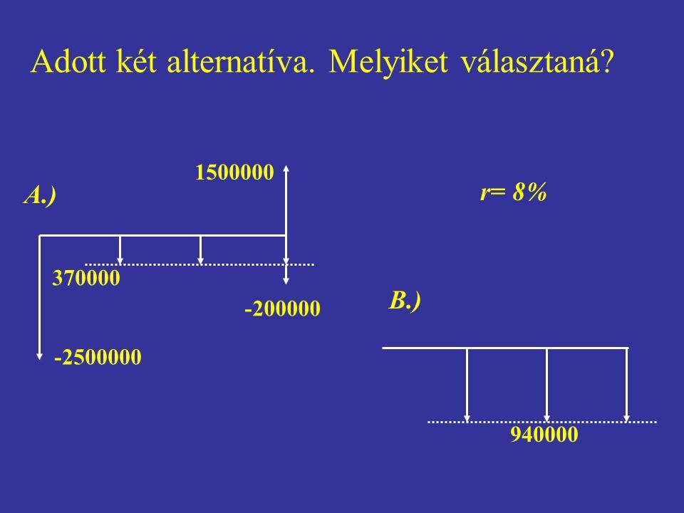 370000 -200000 1500000 -2500000 A.) 940000 B.) r= 8% Adott két alternatíva. Melyiket választaná?
