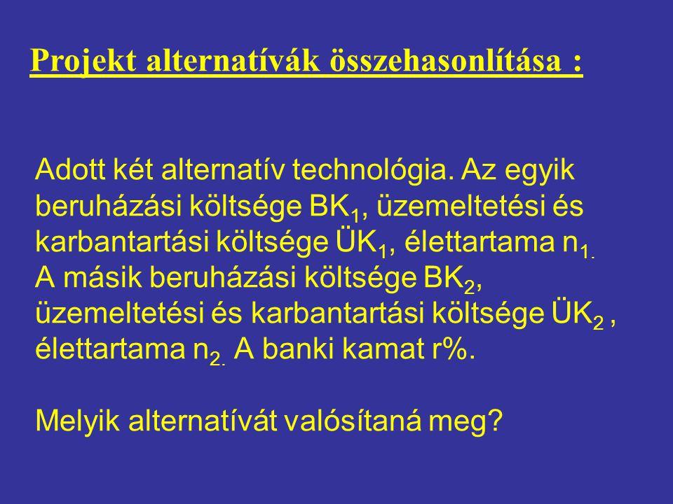 Adott két alternatív technológia. Az egyik beruházási költsége BK 1, üzemeltetési és karbantartási költsége ÜK 1, élettartama n 1. A másik beruházási