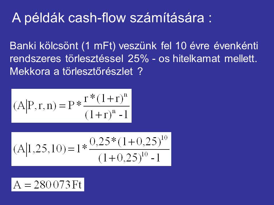 A példák cash-flow számítására : Banki kölcsönt (1 mFt) veszünk fel 10 évre évenkénti rendszeres törlesztéssel 25% - os hitelkamat mellett. Mekkora a