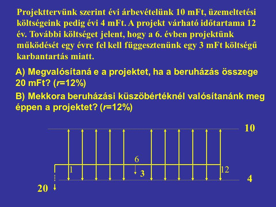A) Megvalósítaná e a projektet, ha a beruházás összege 20 mFt? (r=12%) B) Mekkora beruházási küszöbértéknél valósítanánk meg éppen a projektet? (r=12%