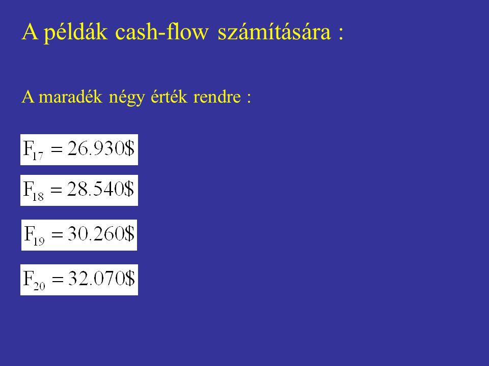 A példák cash-flow számítására : A maradék négy érték rendre :