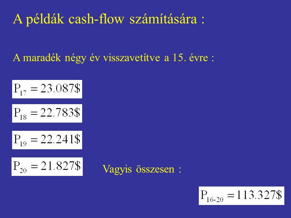 A példák cash-flow számítására : A maradék négy év visszavetítve a 15. évre : Vagyis összesen :