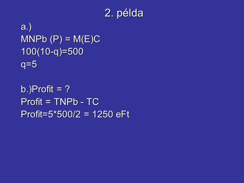 a.) MNPb (P) = M(E)C 100(10-q)=500q=5 b.)Profit = ? Profit = TNPb - TC Profit=5*500/2 = 1250 eFt 2. példa