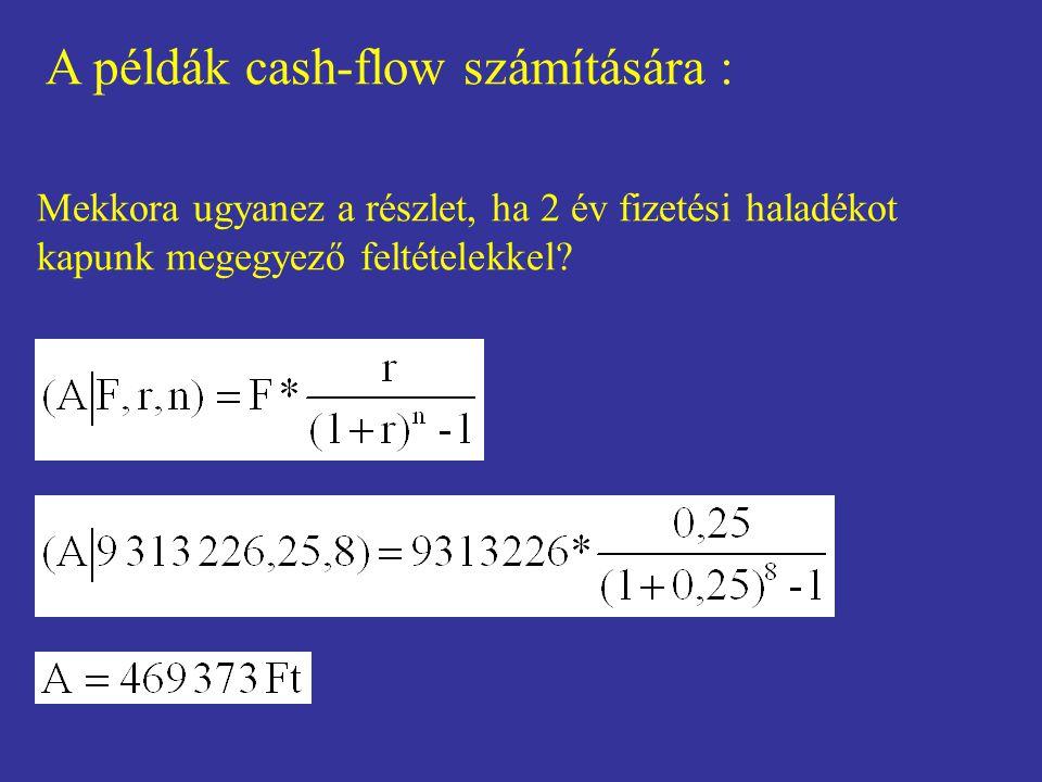 A példák cash-flow számítására : Mekkora ugyanez a részlet, ha 2 év fizetési haladékot kapunk megegyező feltételekkel?