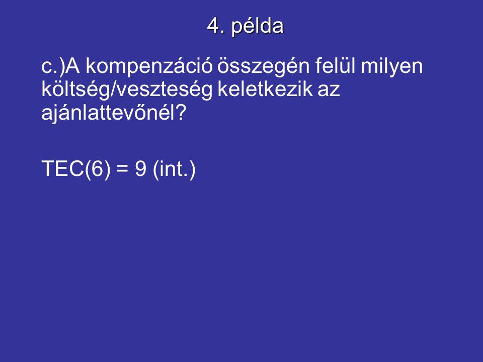 c.)A kompenzáció összegén felül milyen költség/veszteség keletkezik az ajánlattevőnél? TEC(6) = 9 (int.) 4. példa