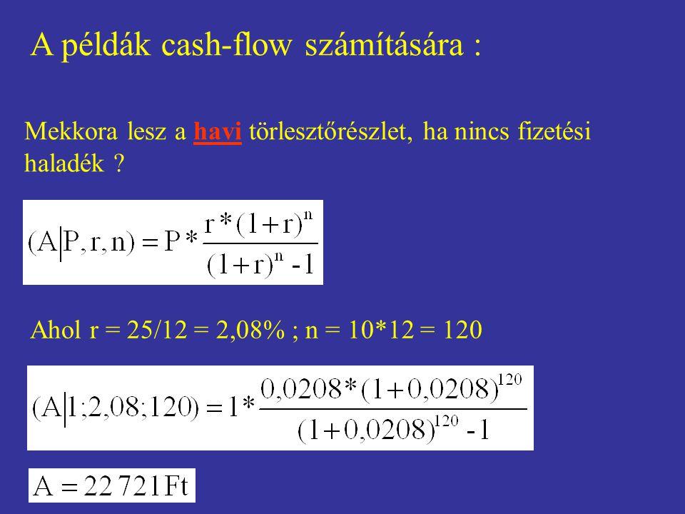 A példák cash-flow számítására : Mekkora lesz a havi törlesztőrészlet, ha nincs fizetési haladék ? Ahol r = 25/12 = 2,08% ; n = 10*12 = 120
