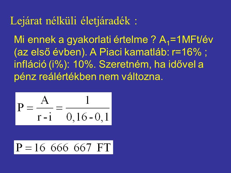 Mi ennek a gyakorlati értelme ? A 1 =1MFt/év (az első évben). A Piaci kamatláb: r=16% ; infláció (i%): 10%. Szeretném, ha idővel a pénz reálértékben n