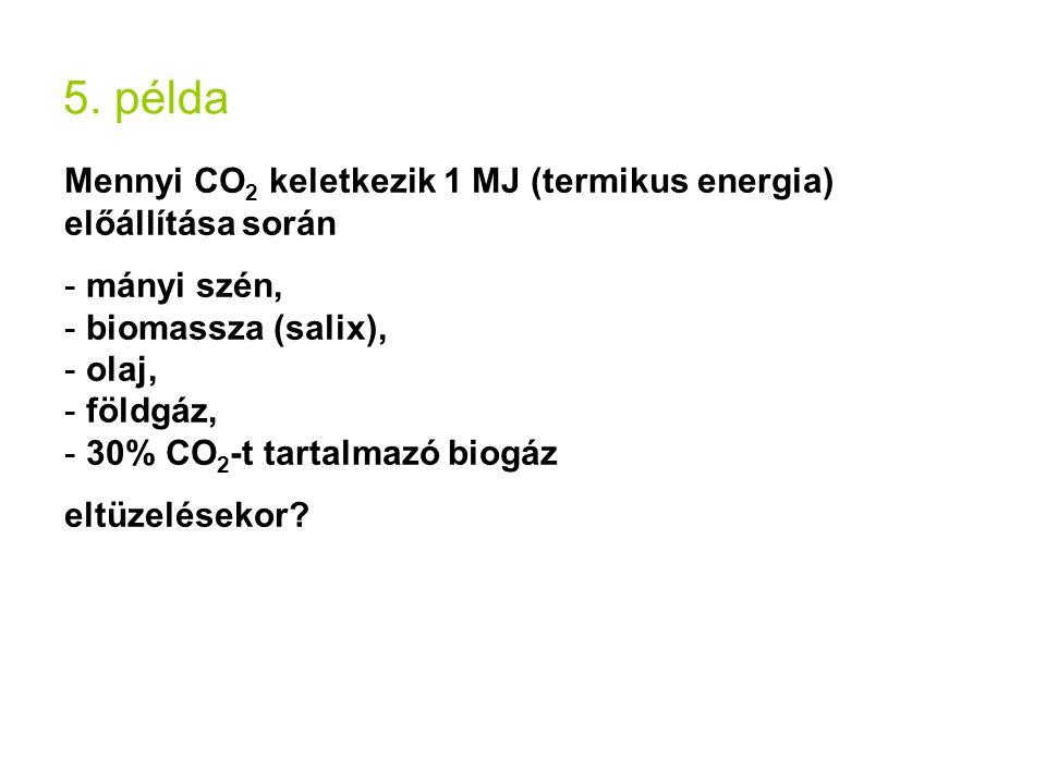 5. példa Mennyi CO 2 keletkezik 1 MJ (termikus energia) előállítása során - mányi szén, - biomassza (salix), - olaj, - földgáz, - 30% CO 2 -t tartalma