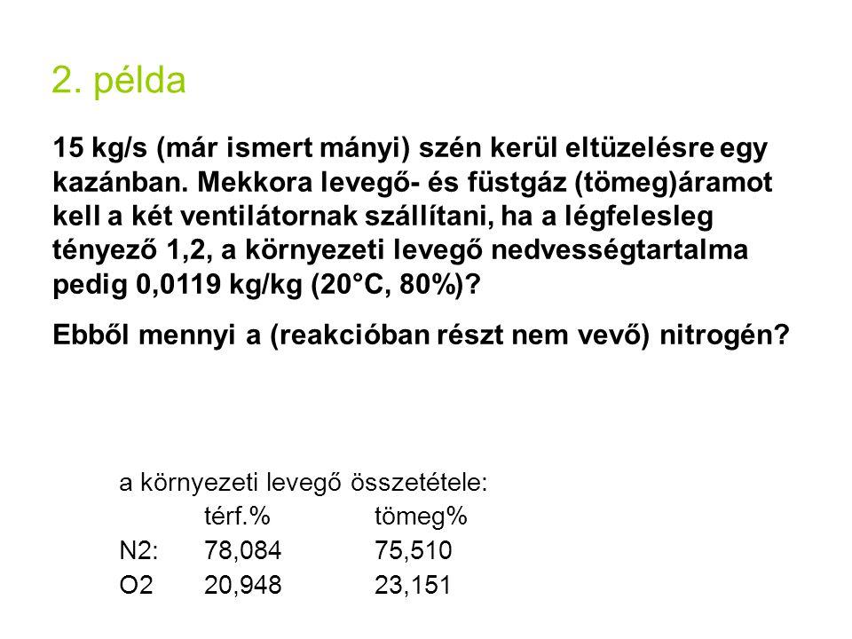 2. példa 15 kg/s (már ismert mányi) szén kerül eltüzelésre egy kazánban. Mekkora levegő- és füstgáz (tömeg)áramot kell a két ventilátornak szállítani,