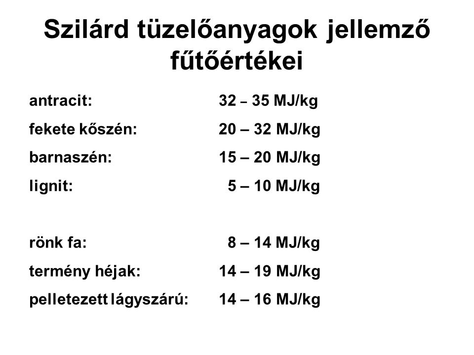 Szilárd tüzelőanyagok jellemző fűtőértékei antracit:32 – 35 MJ/kg fekete kőszén:20 – 32 MJ/kg barnaszén:15 – 20 MJ/kg lignit: 5 – 10 MJ/kg rönk fa: 8 – 14 MJ/kg termény héjak:14 – 19 MJ/kg pelletezett lágyszárú:14 – 16 MJ/kg