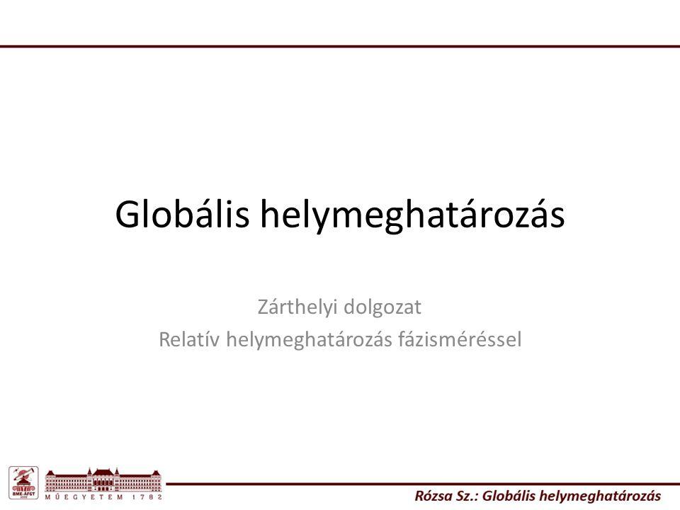 Globális helymeghatározás Zárthelyi dolgozat Relatív helymeghatározás fázisméréssel