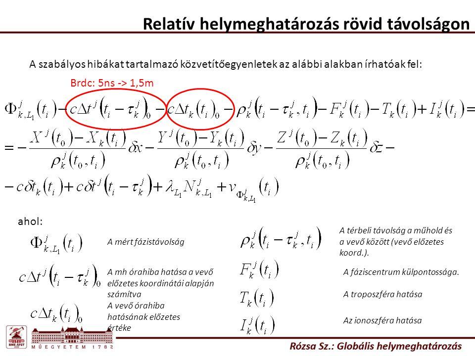 Relatív helymeghatározás rövid távolságon A szabályos hibákat tartalmazó közvetítőegyenletek az alábbi alakban írhatóak fel: Brdc: 5ns -> 1,5m ahol: A mért fázistávolság A mh órahiba hatása a vevő előzetes koordinátái alapján számítva A vevő órahiba hatásának előzetes értéke A térbeli távolság a műhold és a vevő között (vevő előzetes koord.).