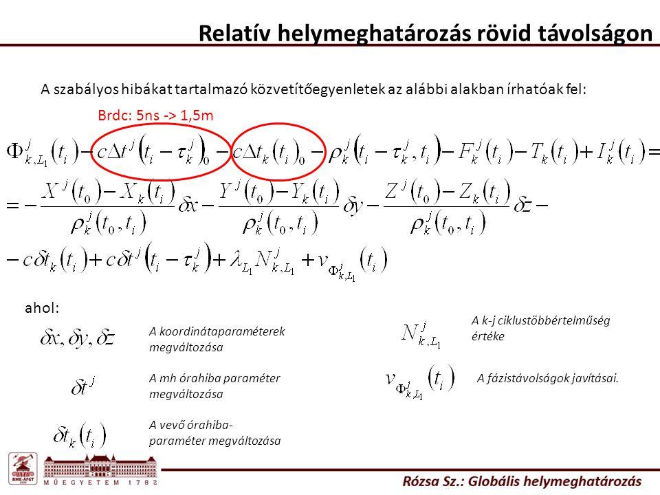 Relatív helymeghatározás rövid távolságon A szabályos hibákat tartalmazó közvetítőegyenletek az alábbi alakban írhatóak fel: Brdc: 5ns -> 1,5m ahol: A