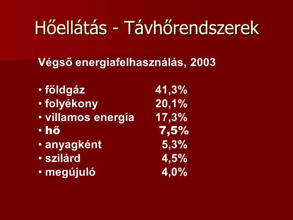 Hőellátás - Távhőrendszerek Végső energiafelhasználás, 2003 földgáz41,3% folyékony20,1% villamos energia17,3% hő 7,5% anyagként 5,3% szilárd 4,5% megú