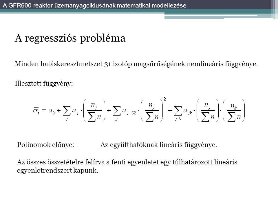 A regressziós probléma Minden hatáskeresztmetszet 31 izotóp magsűrűségének nemlineáris függvénye. Illesztett függvény: Az összes összetételre felírva