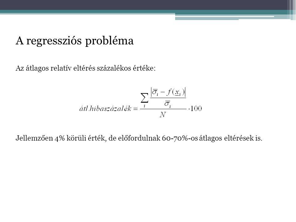 A regressziós probléma Az átlagos relatív eltérés százalékos értéke: Jellemzően 4% körüli érték, de előfordulnak 60-70%-os átlagos eltérések is.