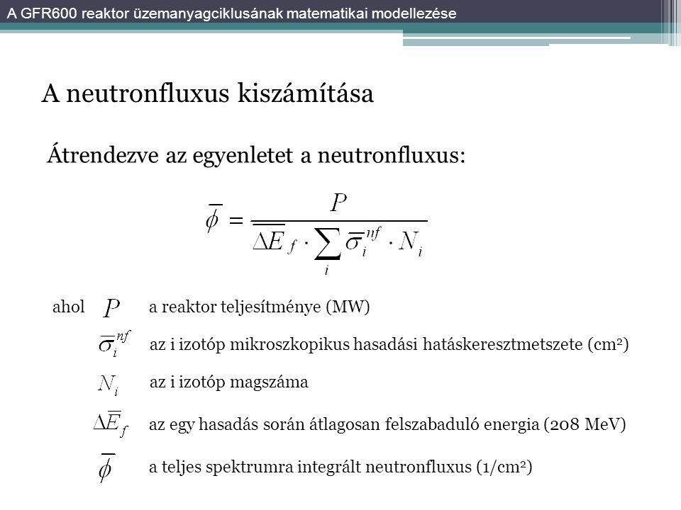 A neutronfluxus kiszámítása Átrendezve az egyenletet a neutronfluxus: ahol az i izotóp mikroszkopikus hasadási hatáskeresztmetszete (cm 2 ) az i izotóp magszáma az egy hasadás során átlagosan felszabaduló energia (208 MeV) a teljes spektrumra integrált neutronfluxus (1/cm 2 ) a reaktor teljesítménye (MW) A GFR600 reaktor üzemanyagciklusának matematikai modellezése