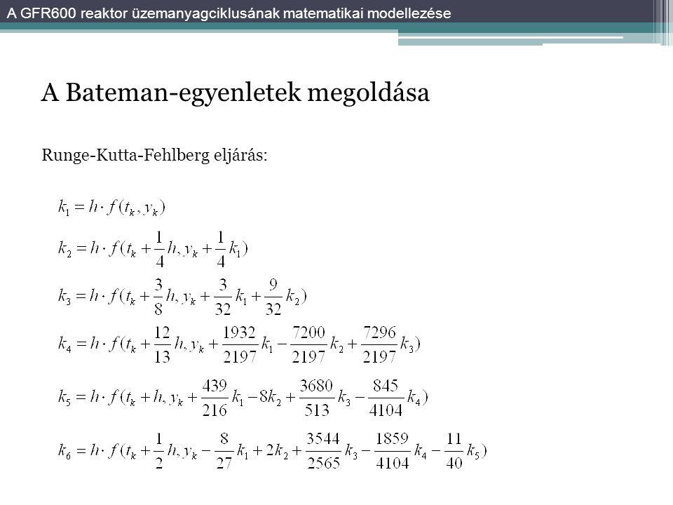A Bateman-egyenletek megoldása Runge-Kutta-Fehlberg eljárás: A GFR600 reaktor üzemanyagciklusának matematikai modellezése