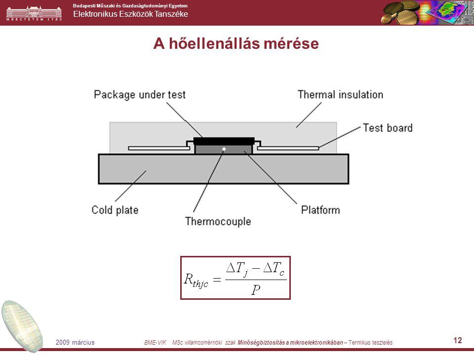 Budapesti Műszaki és Gazdaságtudományi Egyetem Elektronikus Eszközök Tanszéke BME-VIK MSc villamosmérnöki szak Minőségbiztosítás a mikroelektronikában – Termikus tesztelés 2009 március 12 A hőellenállás mérése