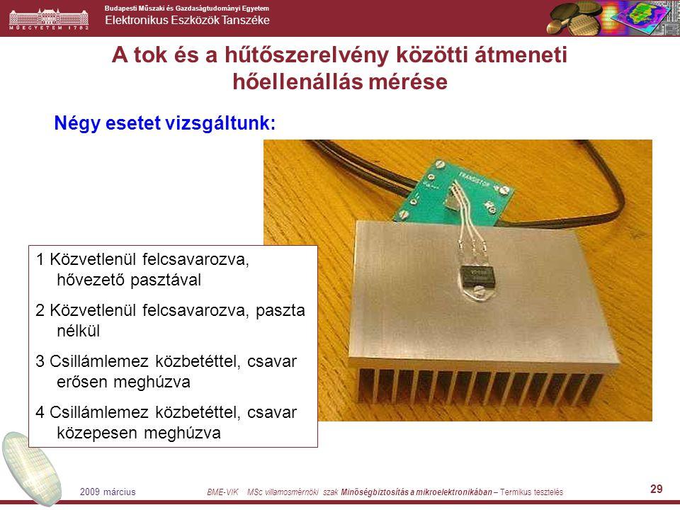 Budapesti Műszaki és Gazdaságtudományi Egyetem Elektronikus Eszközök Tanszéke BME-VIK MSc villamosmérnöki szak Minőségbiztosítás a mikroelektronikában – Termikus tesztelés 2009 március 29 A tok és a hűtőszerelvény közötti átmeneti hőellenállás mérése Négy esetet vizsgáltunk: 1 Közvetlenül felcsavarozva, hővezető pasztával 2 Közvetlenül felcsavarozva, paszta nélkül 3 Csillámlemez közbetéttel, csavar erősen meghúzva 4 Csillámlemez közbetéttel, csavar közepesen meghúzva