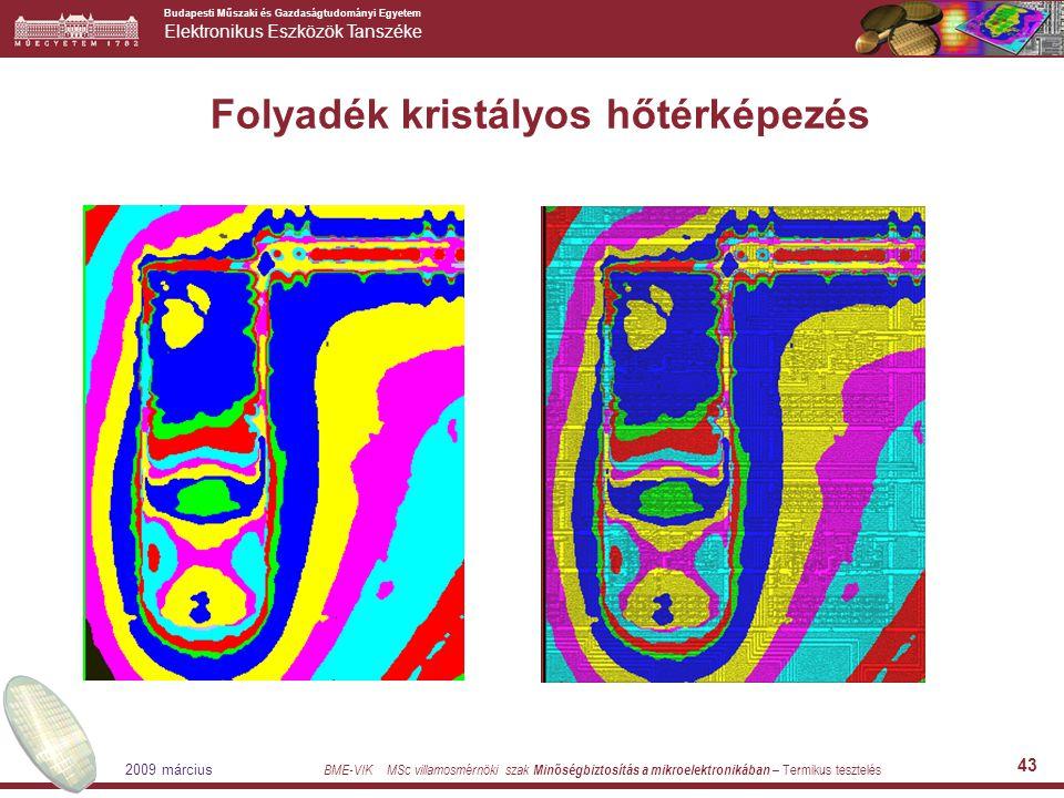 Budapesti Műszaki és Gazdaságtudományi Egyetem Elektronikus Eszközök Tanszéke BME-VIK MSc villamosmérnöki szak Minőségbiztosítás a mikroelektronikában – Termikus tesztelés 2009 március 43 Folyadék kristályos hőtérképezés