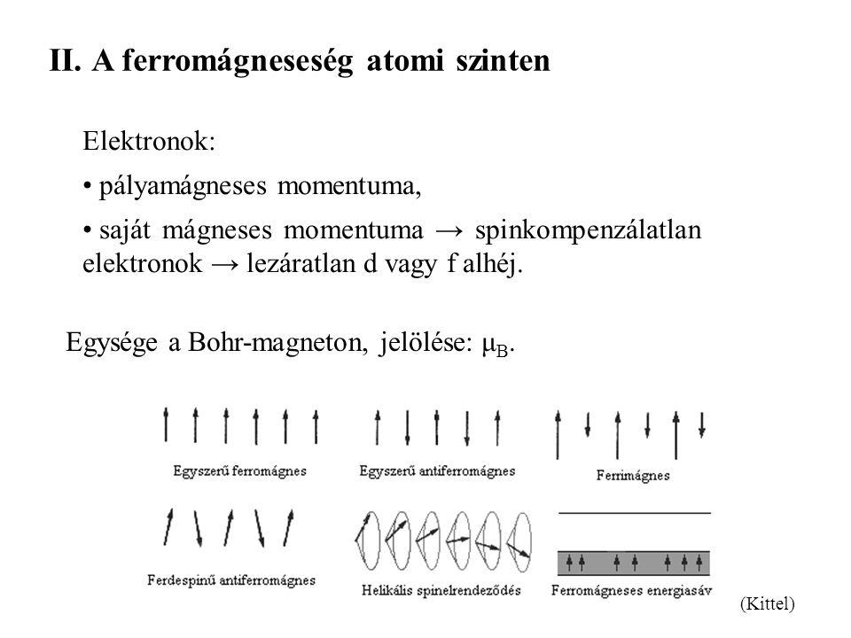 II.A ferromágneseség atomi szinten Elektronok: pályamágneses momentuma, saját mágneses momentuma → spinkompenzálatlan elektronok → lezáratlan d vagy f