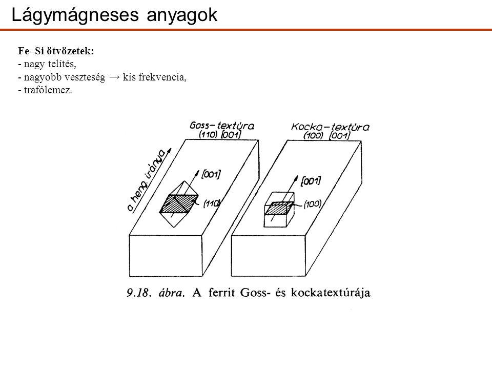 Fe–Si ötvözetek: - nagy telítés, - nagyobb veszteség → kis frekvencia, - trafólemez.
