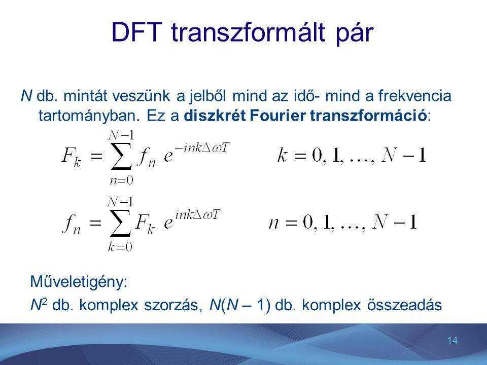 14 DFT transzformált pár N db. mintát veszünk a jelből mind az idő- mind a frekvencia tartományban. Ez a diszkrét Fourier transzformáció: Műveletigény