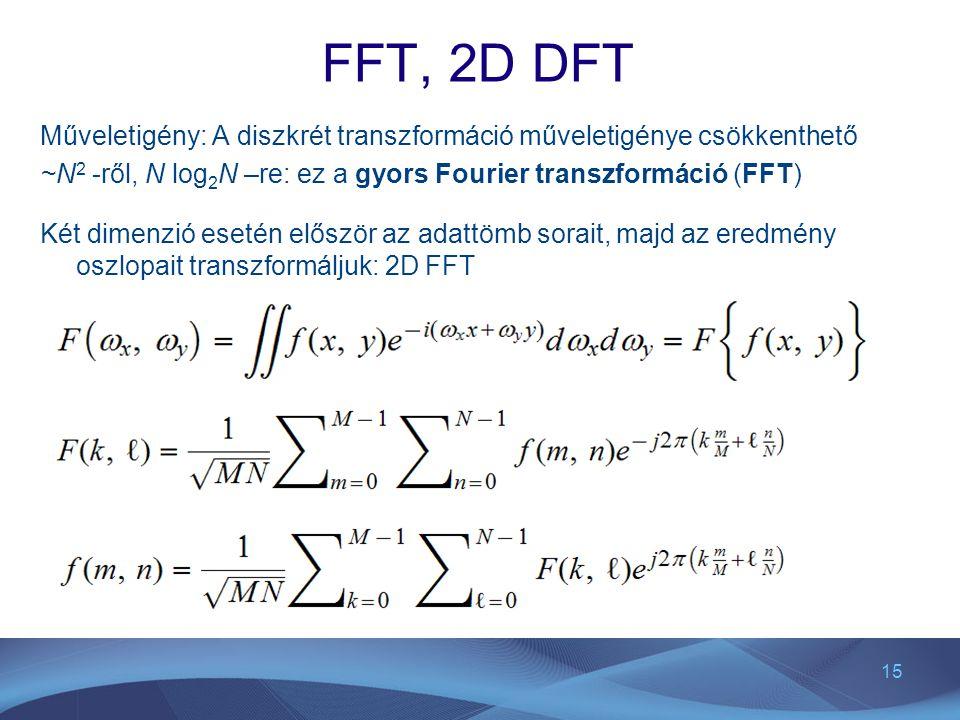 15 FFT, 2D DFT Műveletigény: A diszkrét transzformáció műveletigénye csökkenthető ~N 2 -ről, N log 2 N –re: ez a gyors Fourier transzformáció (FFT) Ké