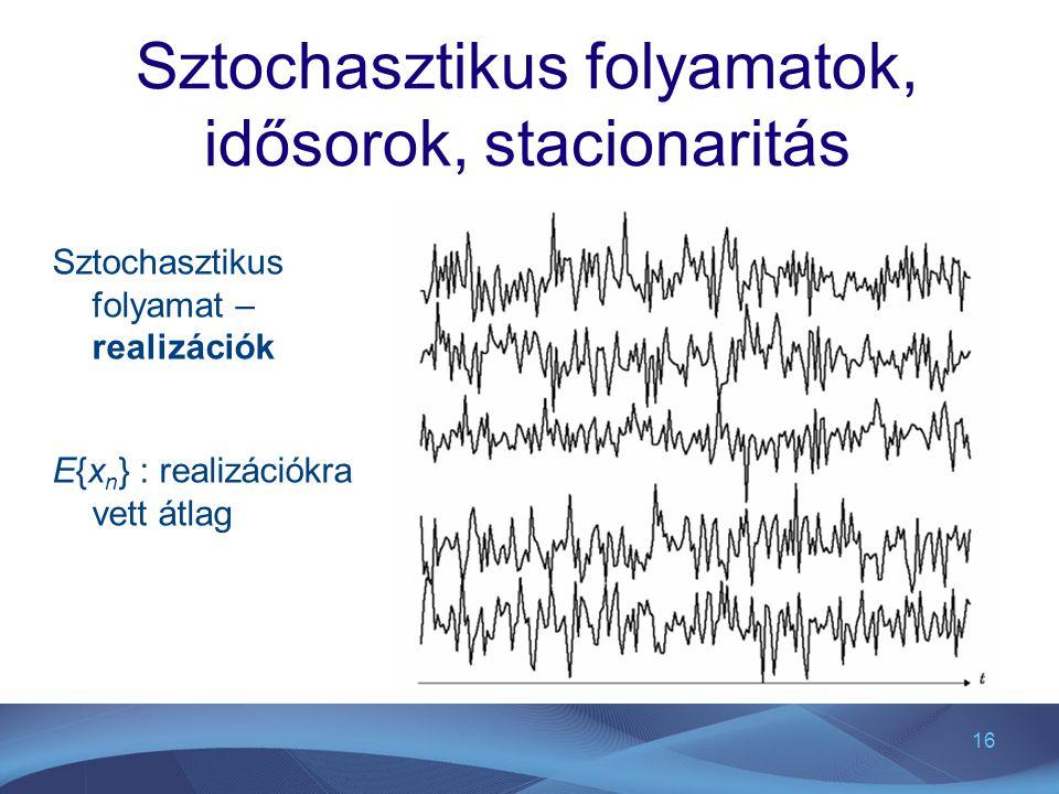 16 Sztochasztikus folyamatok, idősorok, stacionaritás Sztochasztikus folyamat – realizációk E{x n } : realizációkra vett átlag