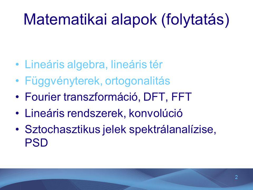 2 Matematikai alapok (folytatás) Lineáris algebra, lineáris tér Függvényterek, ortogonalitás Fourier transzformáció, DFT, FFT Lineáris rendszerek, kon