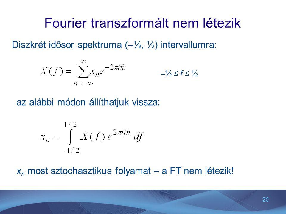 20 Fourier transzformált nem létezik Diszkrét idősor spektruma (–½, ½) intervallumra: –½ ≤ f ≤ ½ az alábbi módon állíthatjuk vissza: x n most sztochas