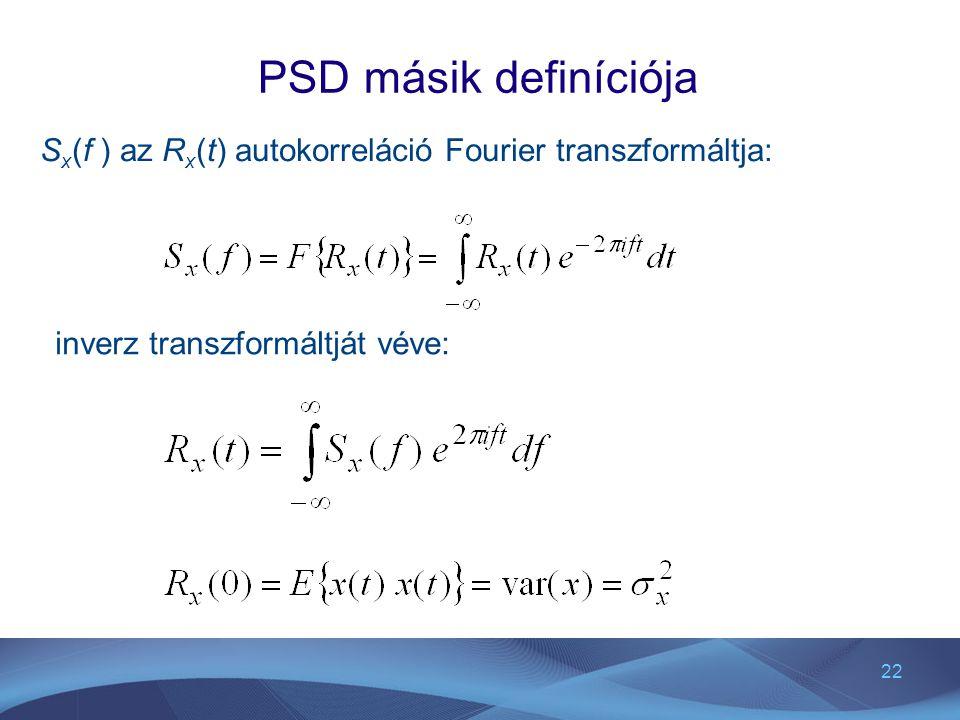 22 PSD másik definíciója S x (f ) az R x (t) autokorreláció Fourier transzformáltja: inverz transzformáltját véve:
