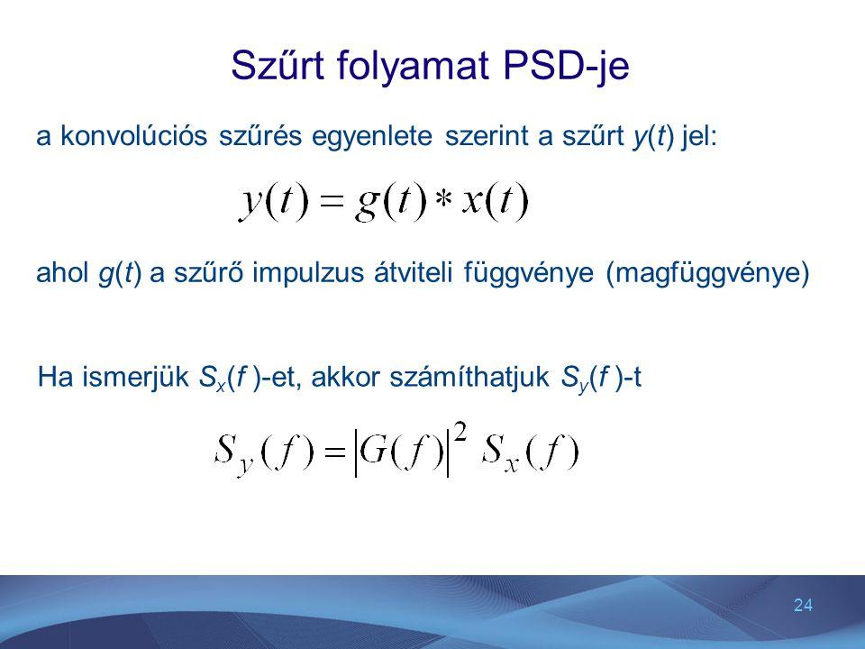24 Szűrt folyamat PSD-je a konvolúciós szűrés egyenlete szerint a szűrt y(t) jel: ahol g(t) a szűrő impulzus átviteli függvénye (magfüggvénye) Ha isme