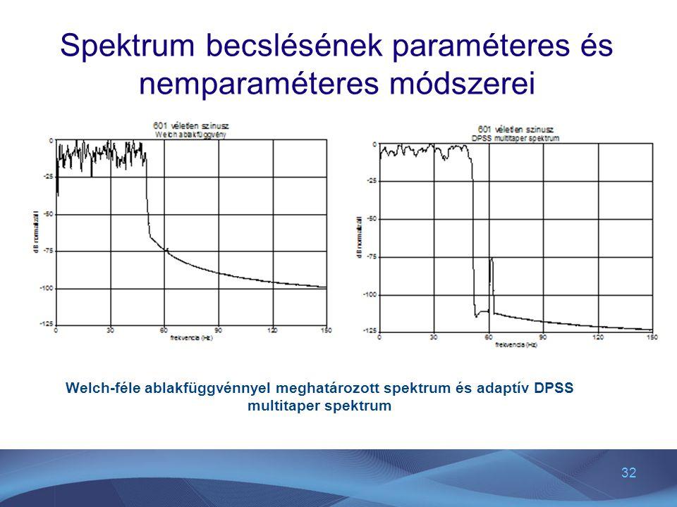 32 Spektrum becslésének paraméteres és nemparaméteres módszerei Welch-féle ablakfüggvénnyel meghatározott spektrum és adaptív DPSS multitaper spektrum