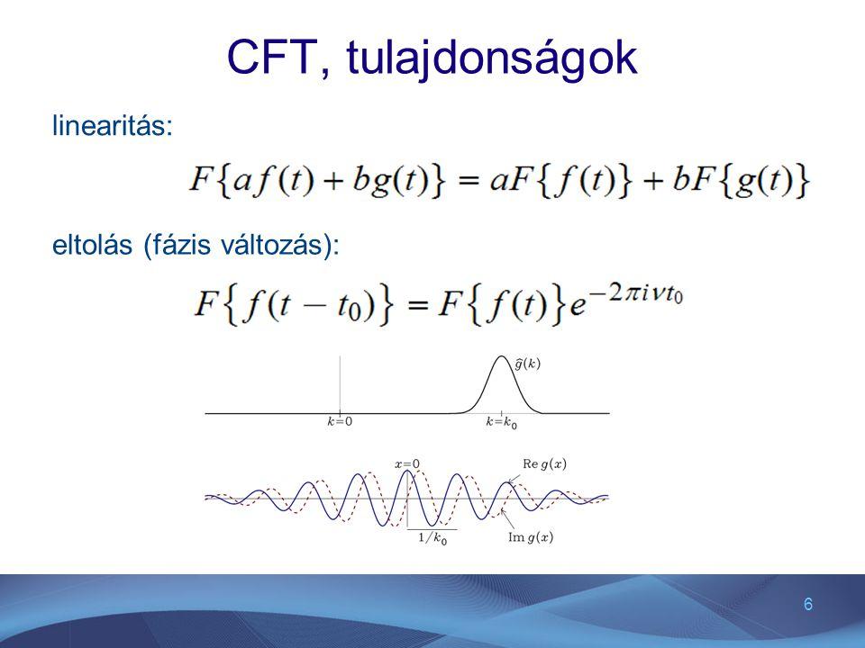 6 CFT, tulajdonságok linearitás: eltolás (fázis változás):
