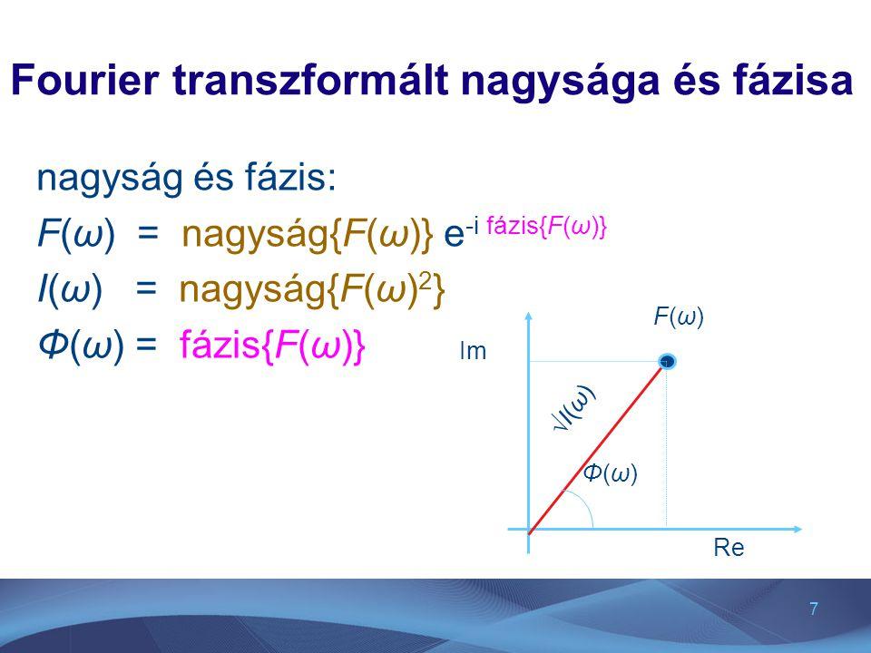 7 Fourier transzformált nagysága és fázisa nagyság és fázis: F(ω) = nagyság{F(ω)} e -i fázis{F(ω)} I(ω) = nagyság{F(ω) 2 } Φ(ω) = fázis{F(ω)} Φ(ω)Φ(ω)