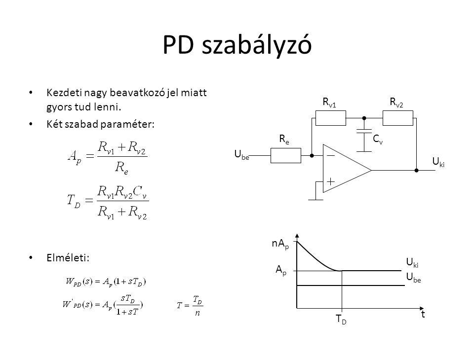 PD szabályzó Kezdeti nagy beavatkozó jel miatt gyors tud lenni. Két szabad paraméter: Elméleti: ReRe CvCv t U ki U be U ki U be R v1 R v2 ApAp nA p TD