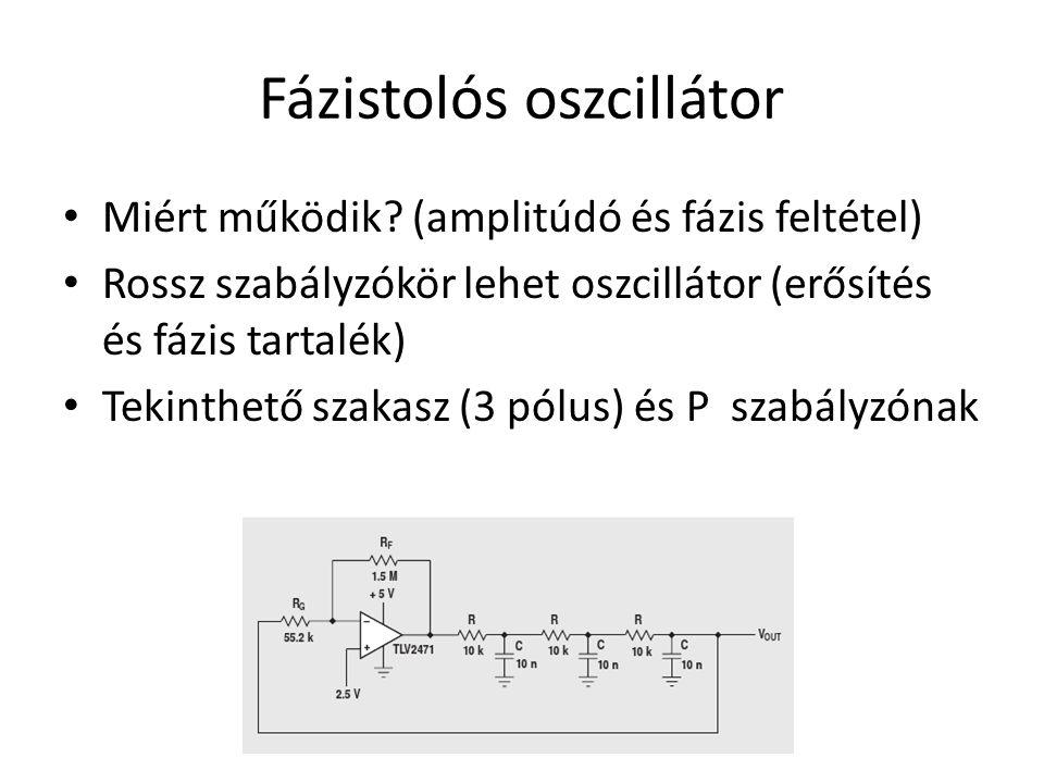 Fázistolós oszcillátor Miért működik? (amplitúdó és fázis feltétel) Rossz szabályzókör lehet oszcillátor (erősítés és fázis tartalék) Tekinthető szaka