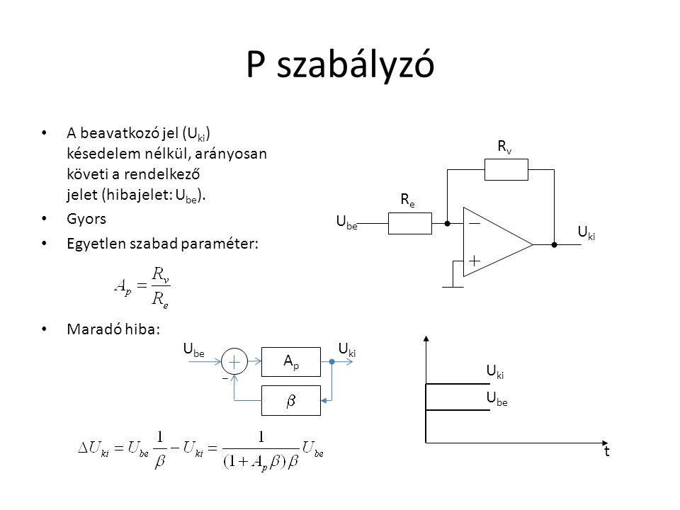 P szabályzó A beavatkozó jel (U ki ) késedelem nélkül, arányosan követi a rendelkező jelet (hibajelet: U be ). Gyors Egyetlen szabad paraméter: Maradó