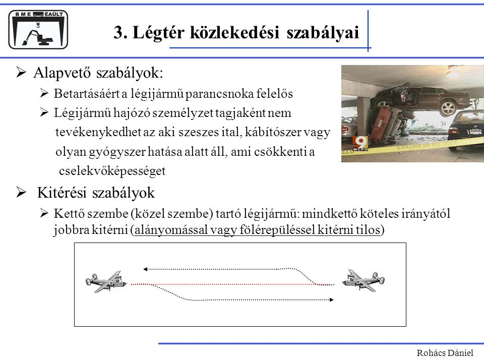 Rohács Dániel 3. Légtér közlekedési szabályai  Alapvető szabályok:  Betartásáért a légijármű parancsnoka felelős  Légijármű hajózó személyzet tagja